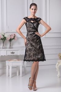 Bateau Neck Knee-length Mother Bride Dress in Black with Lace in Shawinigan