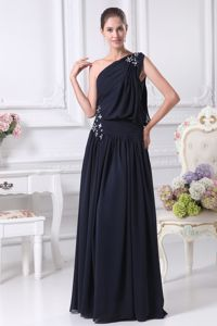 Navy Blue One Shoulder Floor-length Mother Dress for Wedding in Shawinigan