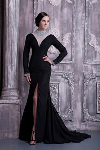 Cullybackey Antrim Black High-neck Beading High Slit Mermaid Mother Dress