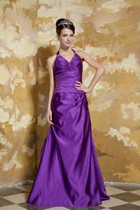 Llandrillo Clwyd Purple Halter Beaded and Ruched Mother of the Bride Dress