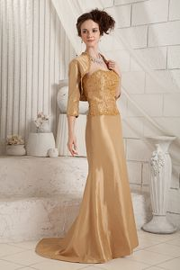 Gold Beading and Appliques Strapless Mother Dresses in Congresbury Avon