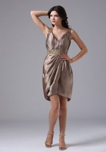 Ruched and Beaded V-neck Column Brown Mother Bride Dress in Larne Antrim