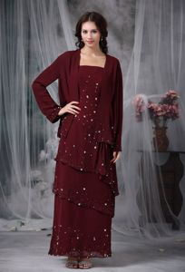 Beading Burgundy Empire Straps Mother Bride Dress in Glengormley Antrim