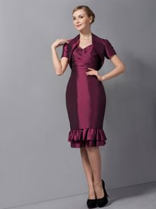 Column Straps Ruches Burgundy Mother of the Bride Dress in Clevedon Avon
