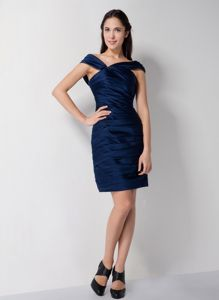 Navy Blue Asymmetrical Ruches Mother of the Bride Dress in Chew Magna Avon