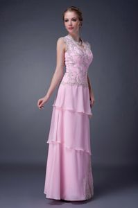 Appliques and Beading Empire V-neck Baby Pink Mother Of The Bride Dress