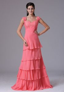 Watermelon Ruffled Layers Square Mother Bride Dress with Appliques
