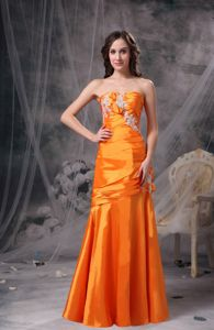 Column Orange Mother of Bride Dress Appliques and Ruche Accent