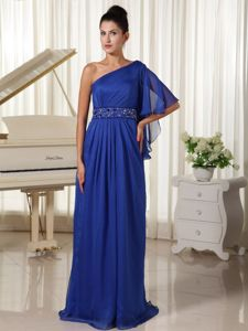One Shoulder with 1/2-length Sleeve Royal Mother of The Bride Dress