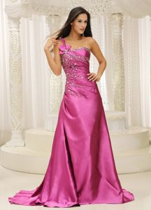 One Shoulder Mother Dresses in Rose Pink with Beading Decorate
