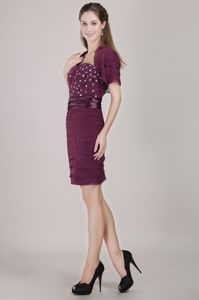 Dark Purple Column Mother Bride Dresses Ruche and Beading Accent
