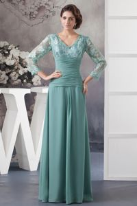 Turquoise V-neck Mother Bride Dress in East Ridge with Long Sleeves