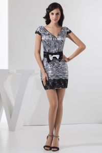 Mini V-neck Mother of Bride Dresses in Eads Zebra Print Design