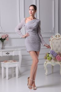 Gray Long Sleeves Mother of Bride Dress Asymmetrical Neckline