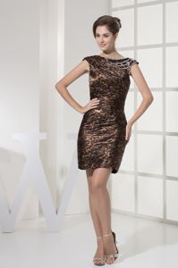 Leopard Cap Sleeves Sheath Mother of The Groom Dresses in Dresden