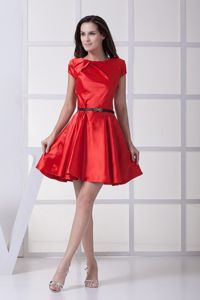 Red Scoop with Black Bow Decorate Belt Mother of The Bride Outfits