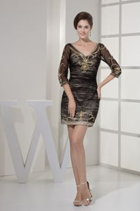 3/4 Sleeves V-neck Dresses For Bride Mother with Shining Beadings