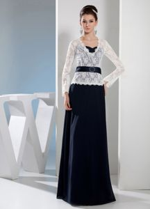 Column Navy Blue V-neck Long Sleeves Lace Mother Bride Dresses