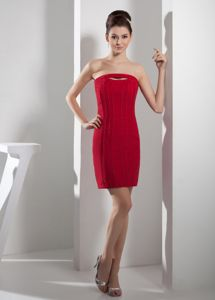 Strapless Short Cutouts Red Mother of Bride Dresses in Corryton