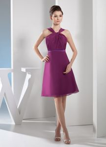 Knee-length Straps Ruched Purple Mother of The Bride Dresses in Cordova