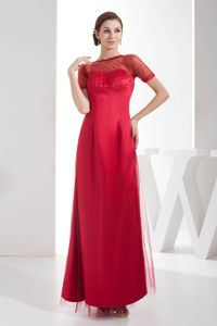 Beaded Red Ankle Length Mother of Bride Dress Short Sleeve Design