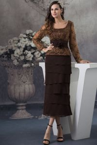 Long Sleeves Embroidery Chocolate Tea-length Mother Dresses in Clifton