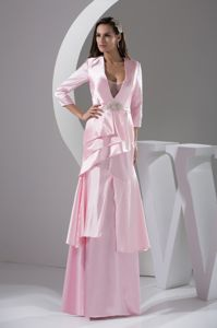 Plunging V-neck Pink 3/4 Length Sleeve Mother Bride Dress in Christiana