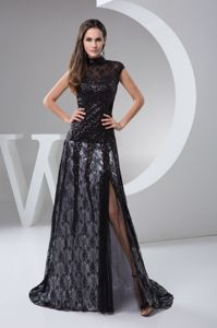 High-neck Brush Beaded Black Lace Mother of The Bride Outfits in Celina