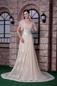 V-neck Lace Beading Sweep Mother of Bride Dress in Champagne