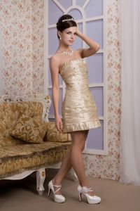 Mini-length Champagne Mother Dresses Beading and Ruche Accent