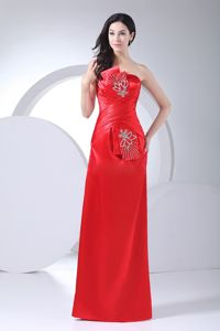 Beading Decorate Strapless Red Mother of The Bride Dresses in Bolivar