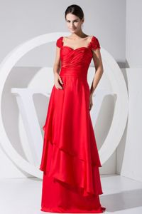 Beading and Ruche Red Brush Mother of Bride Dresses in Bell Buckle