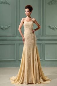 Beading Mermaid Sweetheart Court Champagne Mother Dresses in Bartlett