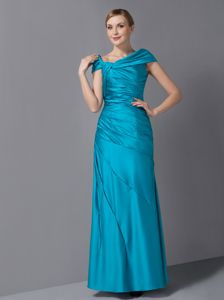 Asymmetrical Ankle-length Ruched Teal Column Mother Dresses in Athens