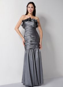 Pleated Grey Mother of The Groom Dresses in Ashland City Flower Accent
