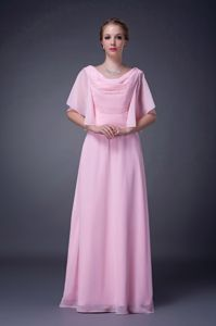 V-neck Beading Accent Pink Empire Mother Bride Dresses in Apison