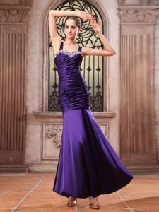 Purple with Straps Beaded and Ruched Mermaid Mother of Bride Dresses