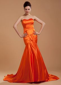 Mermaid Orange Red Brush Mother of The Bride Dress Beading Decorate