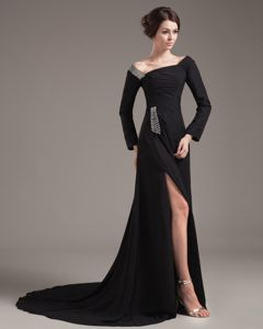 High Slit off The Shoulder Long Sleeves Mother of The Groom Dress
