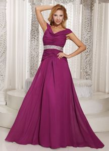 Fuchsia Ruched and Beading Mother Dresses off The Shoulder Design
