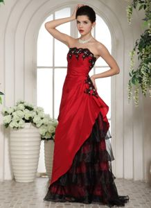 Ruffled Layers with Appliques Mother of The Groom Dresses in Wine Red