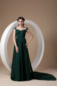 Dark Green Square Beading Mother Bride Dress in Webster with Watteau