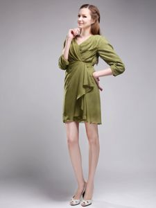 2013 Brand New Sheath V-neck Olive Green Mother of Bride Dresses