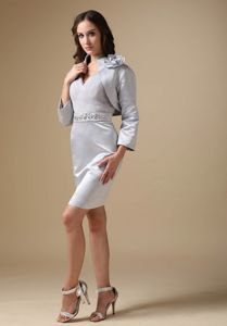 Grey V-neck Knee-length Beading Mother of The Bride Dresses in Wagner