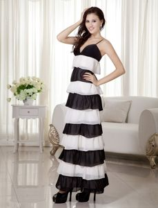 White and Black Spaghetti Straps Mother Bride Dresses in Ankle-length