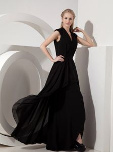 Black Column V-neck Mother Bride Dress in Spearfish 2013 New Arrival