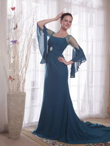 Sheath Square Navy Blue Mother Dresses in Rosebud with Sweep Train