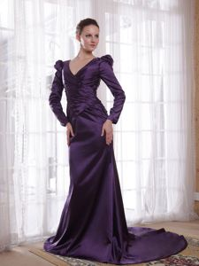 Column V-neck Brush Dark Purple Mother of The Groom Dresses in Reliance
