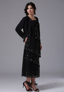 Black Jacket Dresses For Bride Mother in Pringle with Straps and Beading