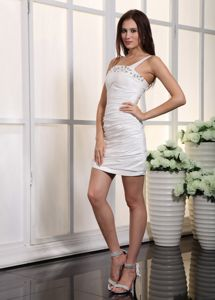 One Shoulder Mini Mother Bride Dress in Pollock Beads And Pleats Accent